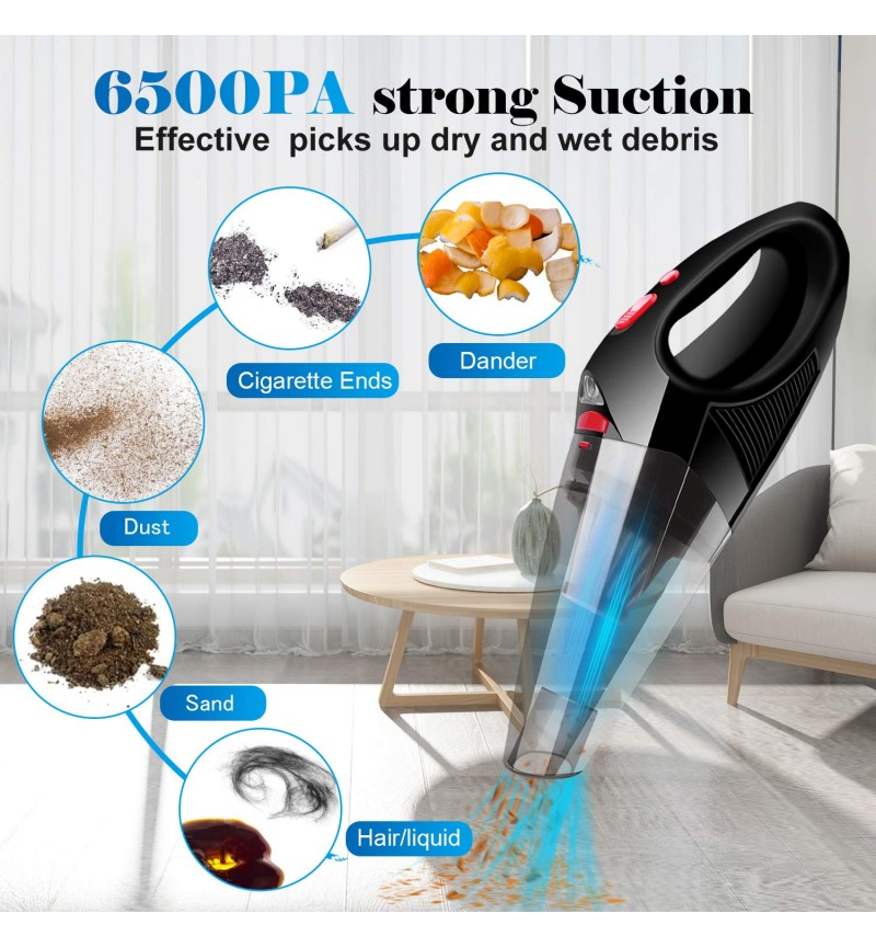 Cordless Car Vacuum Cleaner Upgraded FUJIWAY Rechargeable Handheld Vacuum Cleaner with LED Light 6500PA Strong Suction Wet & Dry Use hand vacuum cleaner for Cars Home and Office Cleaning